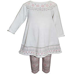 Blueberi Boulevard 2-Piece Jacquard Trim Knit Sweater and Legging Set in White