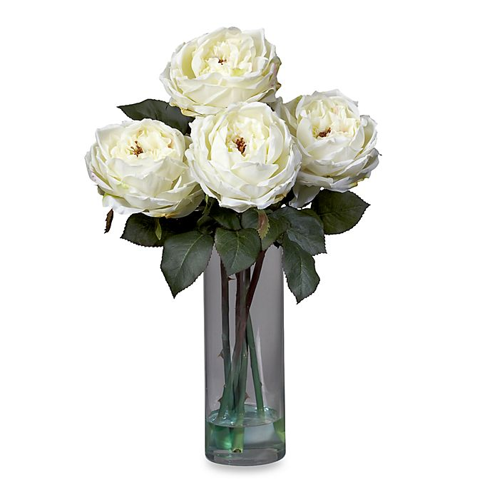 Nearly Natural 18 Inch Fancy Rose With Cylinder Vase Silk Flower