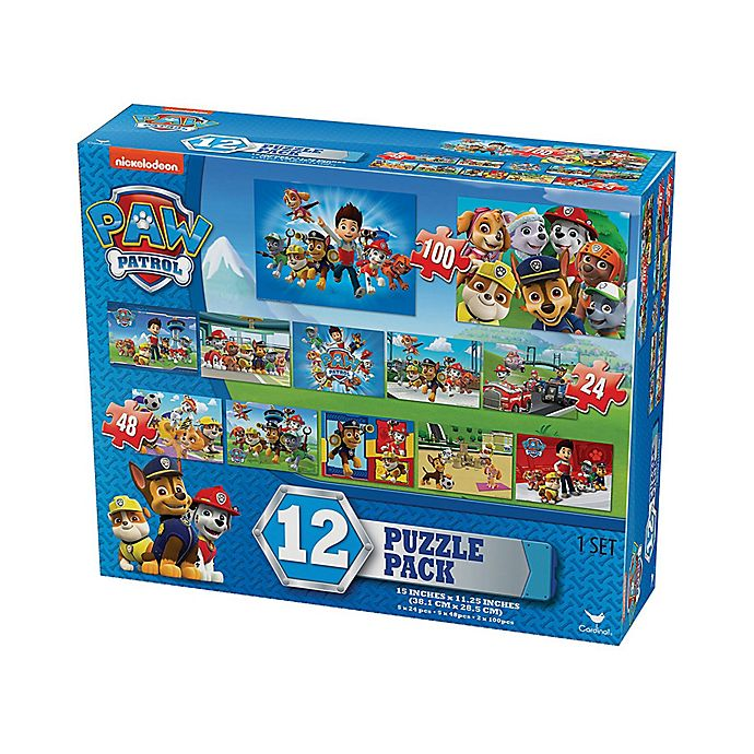Alternate image 1 for Cardinal Paw Patrol 24, 48, and 100-Piece 12-Pack Blue Box Jigsaw Puzzles
