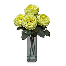 Nearly Natural 18-Inch Fancy Rose with Cylinder Vase Silk Flower Arrangement - Yellow