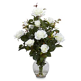Nearly Natural 22-Inch Rose Bush with Vase Silk Flower Arrangement - White