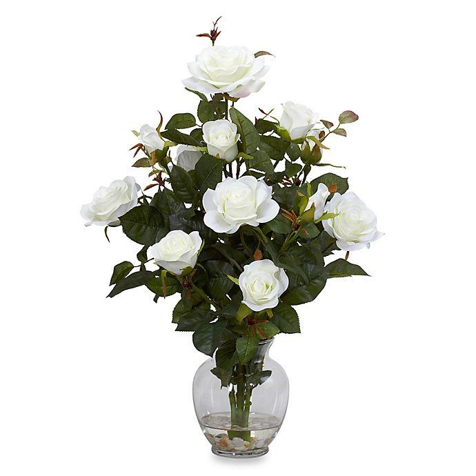 Alternate image 1 for Nearly Natural 22-Inch Rose Bush with Vase Silk Flower Arrangement - White