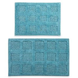 Perthshire 17x24 and 20x30 Square Honeycomb Reversible Bath Rugs (Set of 2)