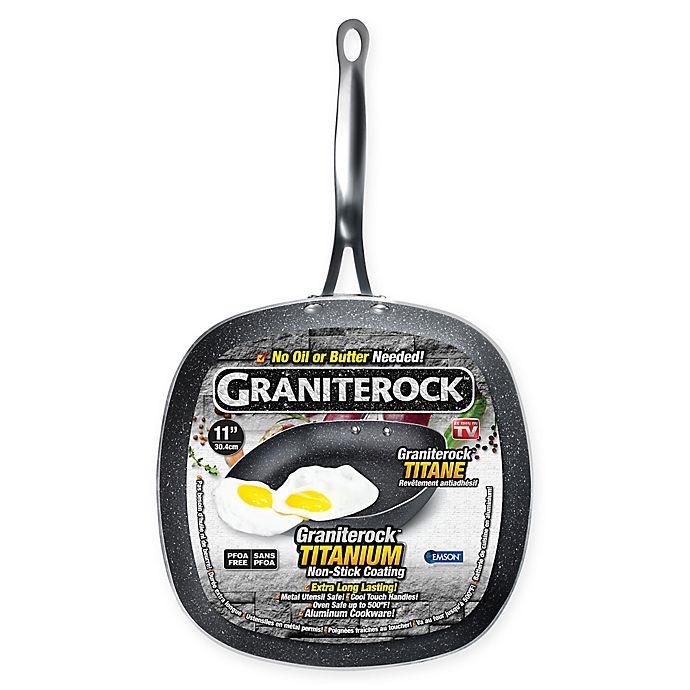 Alternate image 1 for Granite Rock™ Titanium Nonstick Aluminum 11-Inch Square Fry Pan in Black