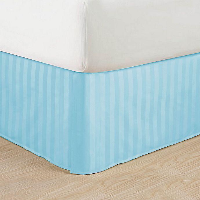 Alternate image 1 for Elegant Comfort Stripe Queen Bed Skirt in Aqua