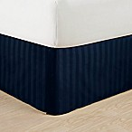 Elegant Comfort Stripe King Bed Skirt in Navy Blue