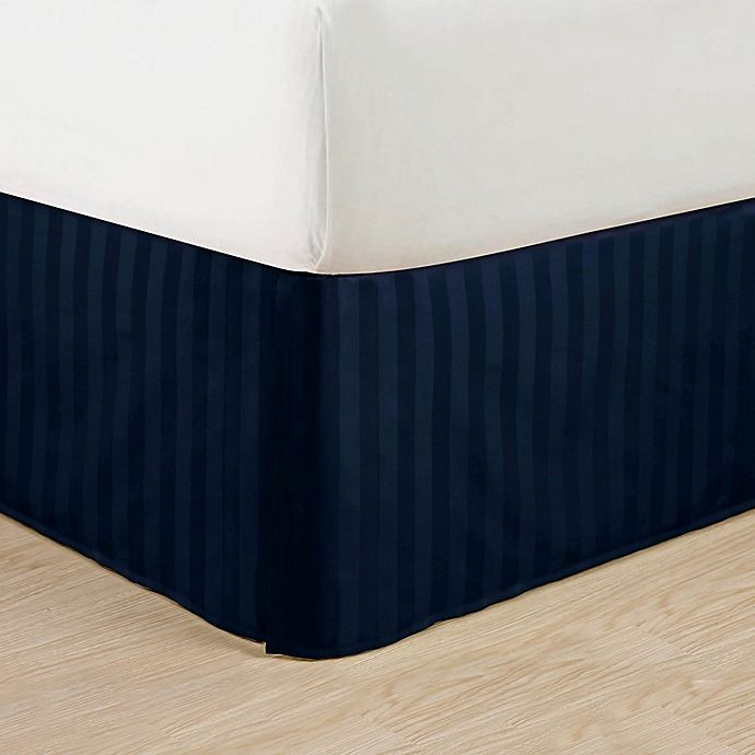 Alternate image 1 for Elegant Comfort Stripe Queen Bed Skirt in Navy Blue