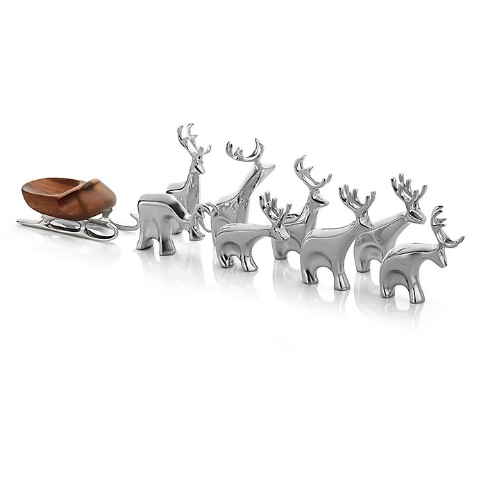 Alternate image 1 for Nambe 9-Piece Miniature Reindeer with Sleigh Set