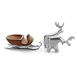 Nambe 3-Piece Miniature Sleigh with Reindeer Set