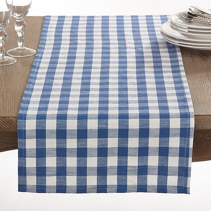 Alternate image 1 for Saro Lifestyle Gingham 72-Inch Table Runner in French Blue