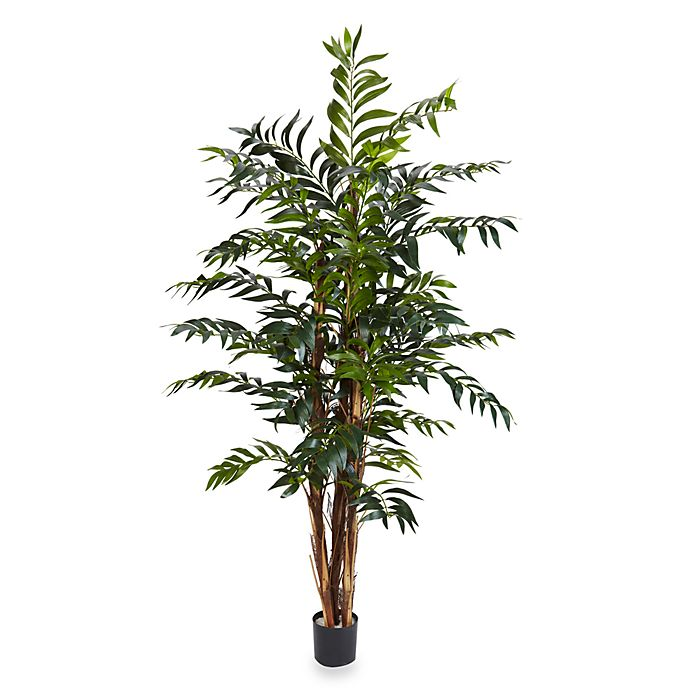 home decor ideas use tropical leaves.htm nearly natural 5 foot bamboo palm silk tree bed bath   beyond  foot bamboo palm silk tree