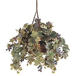 Nearly Natural 22-Inch Grape Leaf Silk Plant Hanging Basket