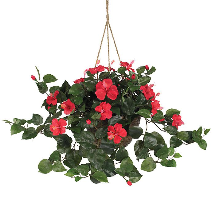 Alternate image 1 for Nearly Natural 24-Inch Hibiscus Silk Plant Hanging Basket