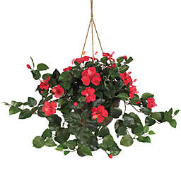 Nearly Natural 24-Inch Hibiscus Silk Plant Hanging Basket