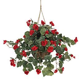 Nearly Natural 31-Inch Begonia Silk Plant Hanging Basket