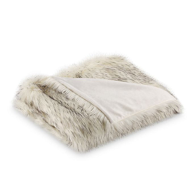 Alternate image 1 for Tipped Faux Fur Throw Blanket in White/Grey