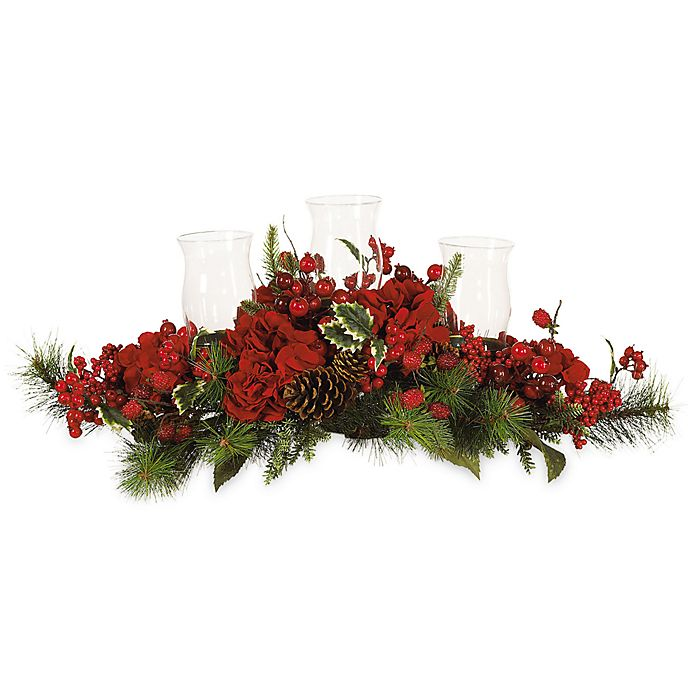 Alternate image 1 for Nearly Natural Hydrangea Holiday Candelabrum