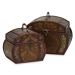 Nearly Natural 7.5-Inch Decorative Chests (Set of 2)