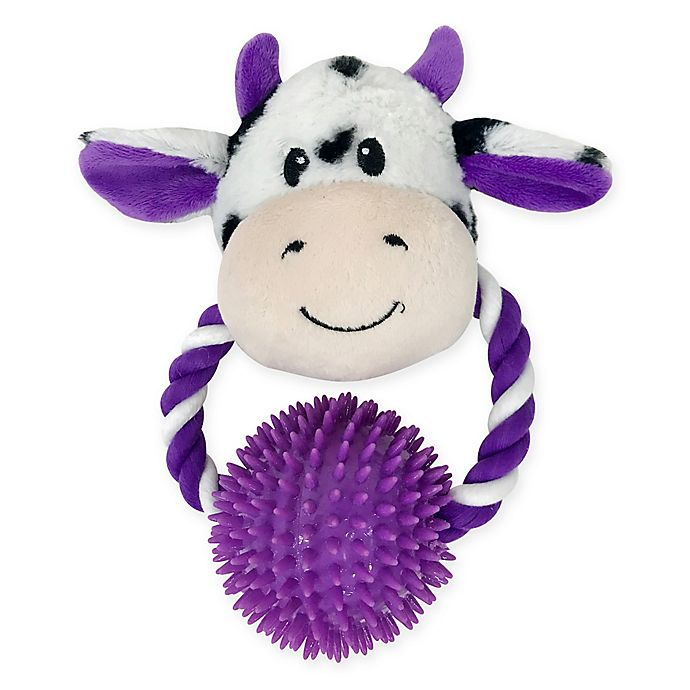 Alternate image 1 for Bounce & Pounce Cow Door Knocker Dog Toy in Purple