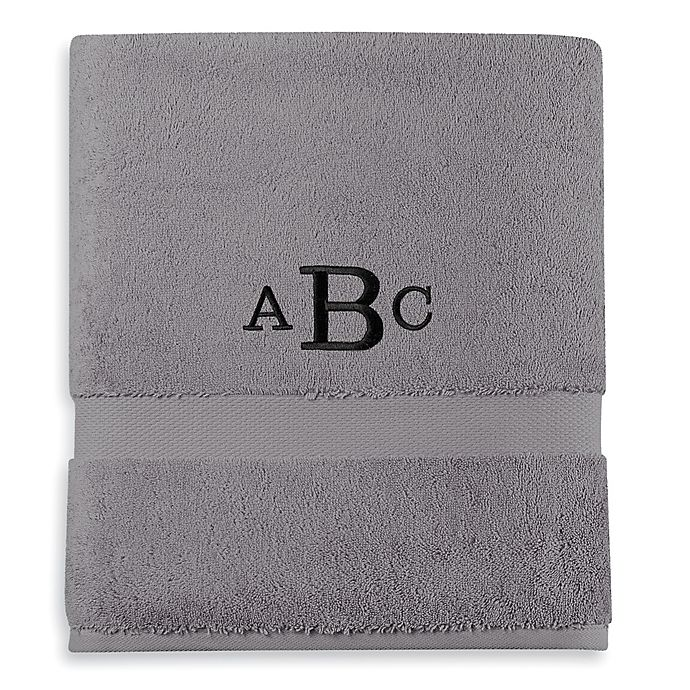Alternate image 1 for Wamsutta® Personalized 805 Turkish Cotton Bath Towel in Slate Grey