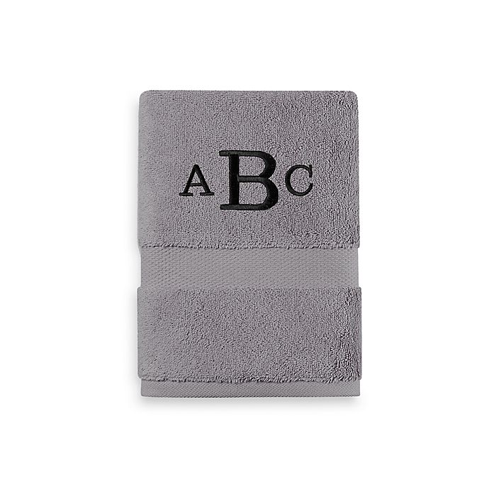 Alternate image 1 for Wamsutta® Personalized 805 Turkish Cotton Hand Towel in Slate Grey