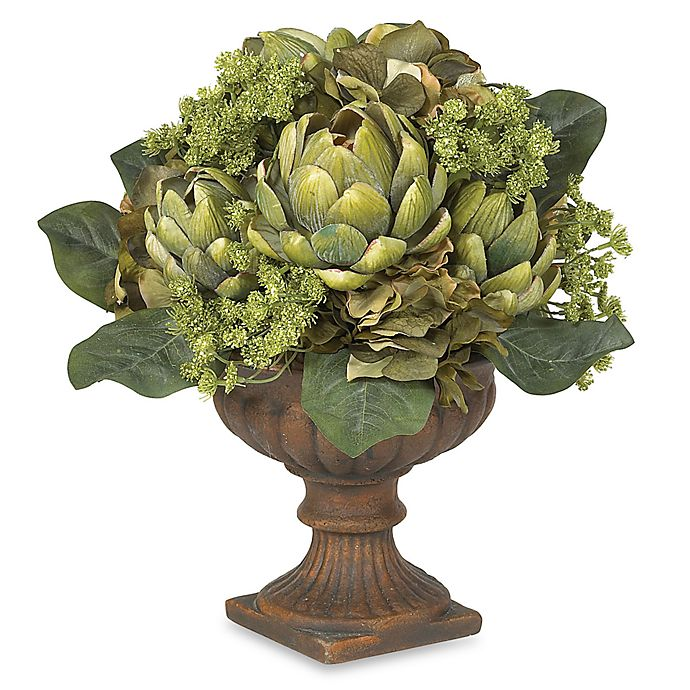 Alternate image 1 for Nearly Natural 21-Inch Silk Artichoke Centerpiece in Green with Plastic Planter