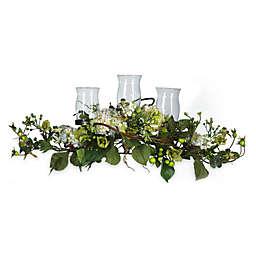 Nearly Natural Silk Hydrangea Triple Candelabrum Centerpiece in Cream