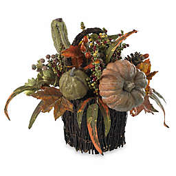 Nearly Natural 15-Inch Fall Pumpkin & Berry Table Arrangement