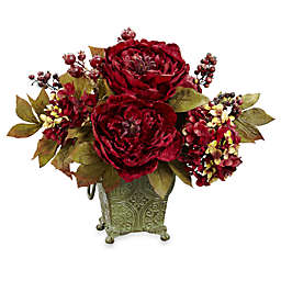 Nearly Natural 9.5-Inch Small Silk Peony & Hydrangea Flower Arrangement