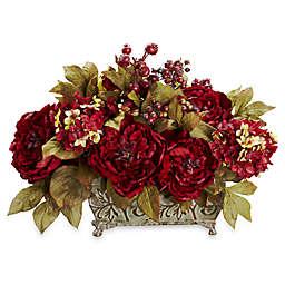 Nearly Natural 18-Inch Silk Peony & Hydrangea Flower Arrangement - Large