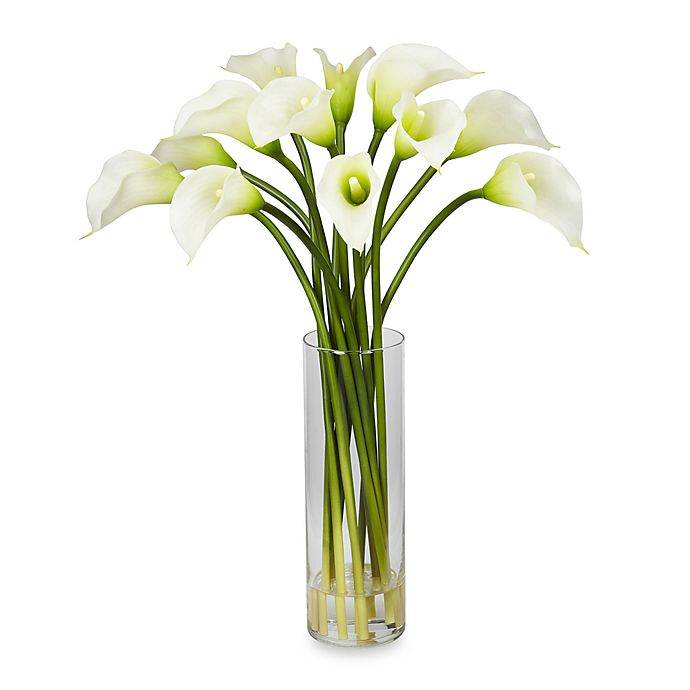 Alternate image 1 for Nearly Natural Mini Silk Calla Lily Flower Arrangement in Cream