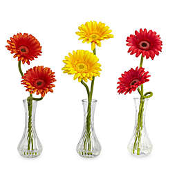 Nearly Natural 13-Inch Red/Orange/Yellow Silk Gerber Daisy W/Bud Vase - Set of 3
