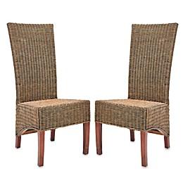 Safavieh Siesta Side Chairs in Honey Black Wicker (Set of 2)