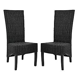 Safavieh Siesta Side Chairs in Black Wicker (Set of 2)