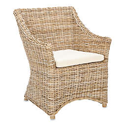 Safavieh Ventura Arm Chair in Brown/White Washed
