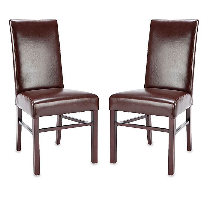 Safavieh Danbury: Safavieh Classic Side Chairs In Brown Leather (Set Of 2