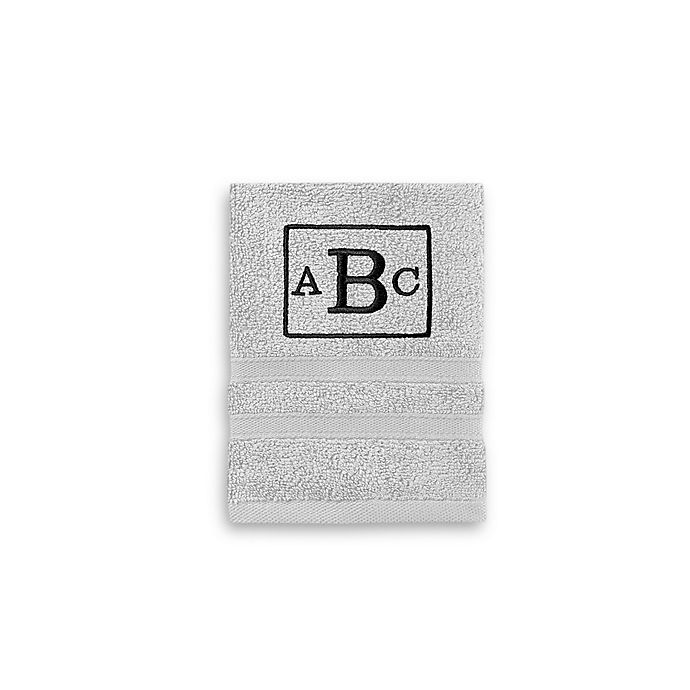 Alternate image 1 for Monogrammed  Wamsutta®   Ultra Soft MICRO COTTON Washcloth in Silver