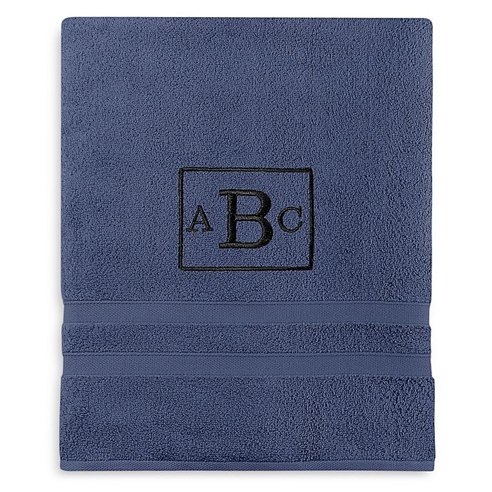 Alternate image 1 for Wamsutta® Personalized Ultra Soft MICRO COTTON Bath Sheet in Denim Blue