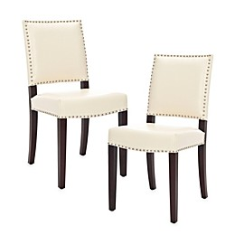 Safavieh James Leather Side Chairs in Cream (Set of 2)