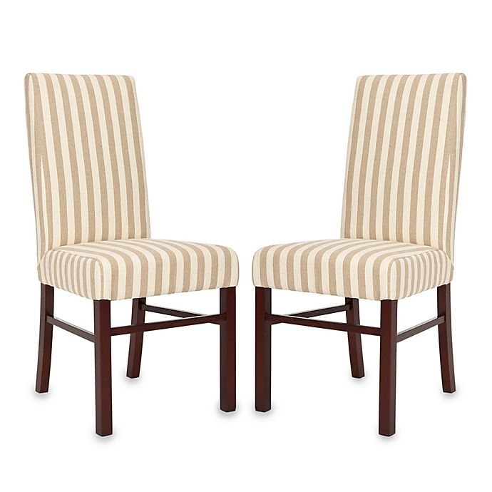 Alternate image 1 for Safavieh Side Chair in Taupe/White Stripe (Set of 2)