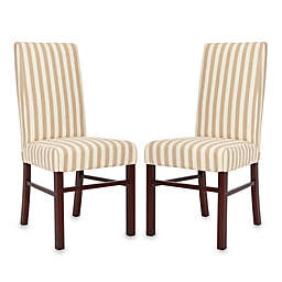 Safavieh Side Chair in Taupe/White Stripe (Set of 2)