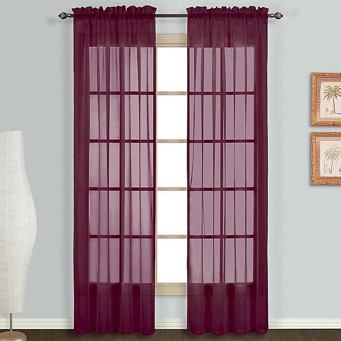 Alternate image 1 for Monte Carlo Sheer Voile 84-Inch Rod Pocket Window Curtain Panel Pair in Burgundy