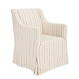 Safavieh Sandra Linen Slipcover Chair in Beige Stripe