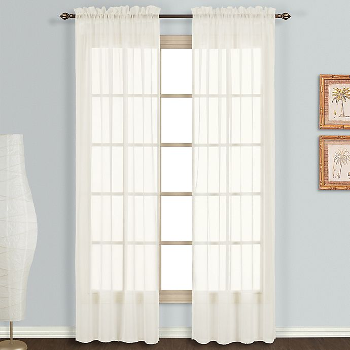 Alternate image 1 for Monte Carlo Sheer Voile 84-Inch Rod Pocket Window Curtain Panel Pair in Egg/Natural