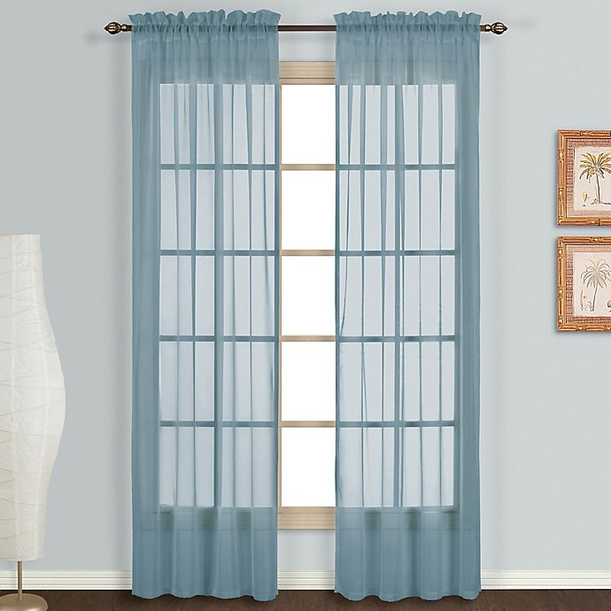 Alternate image 1 for Monte Carlo Sheer Voile 63-Inch Rod Pocket Window Curtain Panel Pair in Slate Blue
