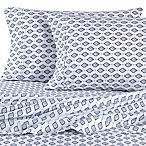 Micro Lush Microfiber Aztec Queen Sheet Set in Blue