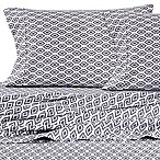 Micro Lush Microfiber Ikat Full Sheet Set in Grey