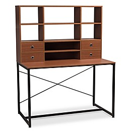 Baxton Studio Edwin 2-in-1 Bookcase Writing Desk in Brown/Black