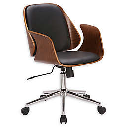 Armen Living® Faux Leather Upholstered Santiago Chair in Black