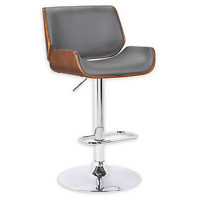"""Armen Living® Faux Leather Upholstered London 33"""" Bar Stool in Grey"""